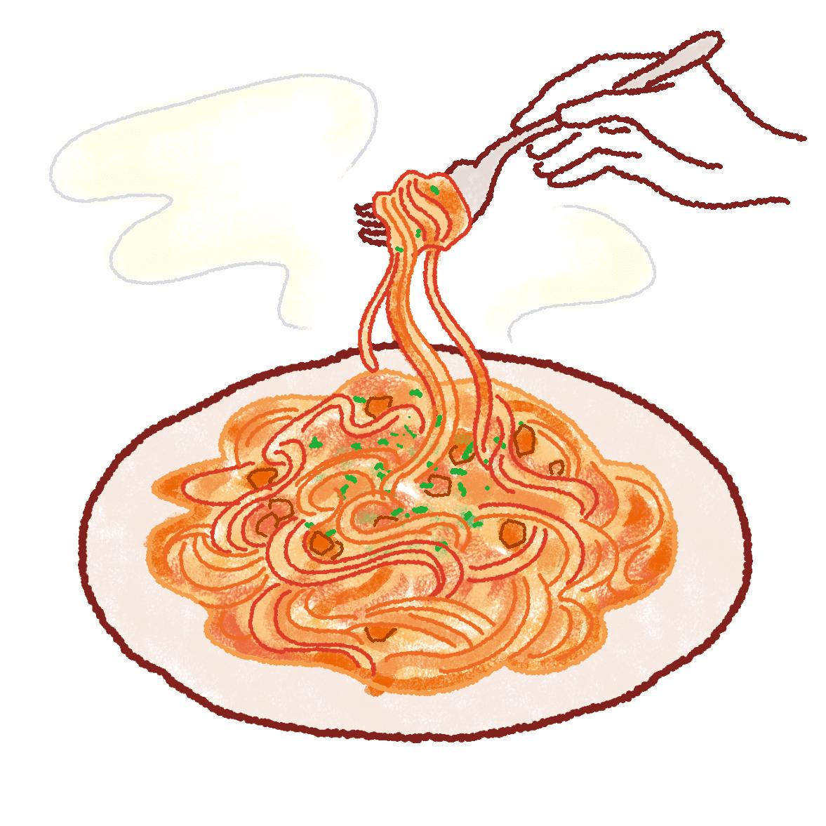 生パスタをおいしく調理する方法。盛り付け例