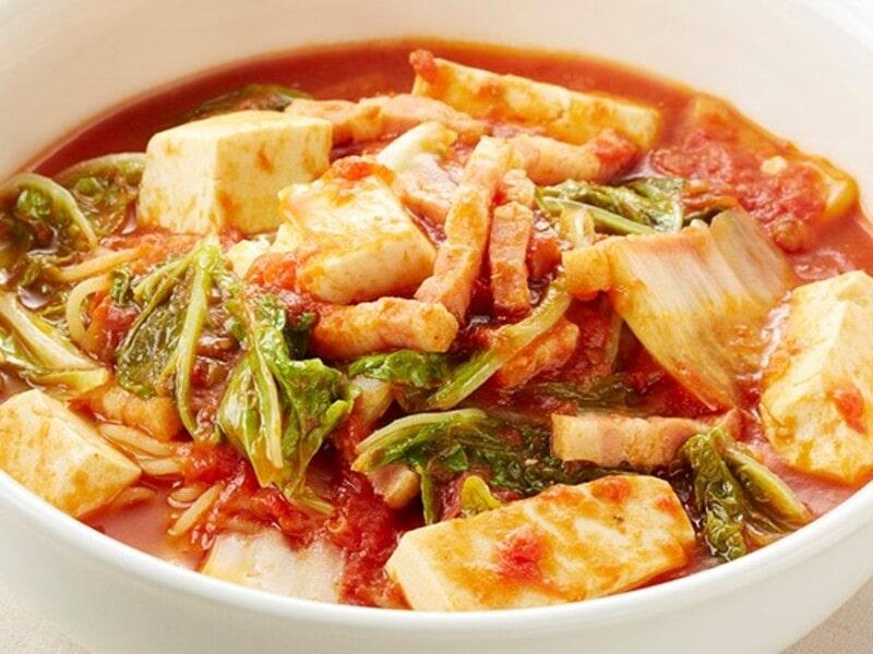 白菜と豆腐のトマトスープパスタ、スパゲティ