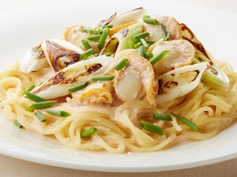 ホタテと焼きネギたらこクリームソースパスタ、スパゲティ